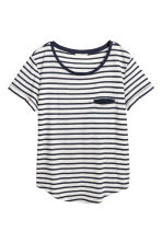 Striped jersey top - White/Black striped - Ladies | H&M CN 2